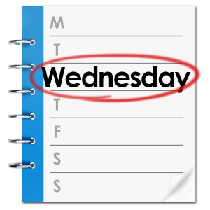 Calendar with Wednesday highlighted