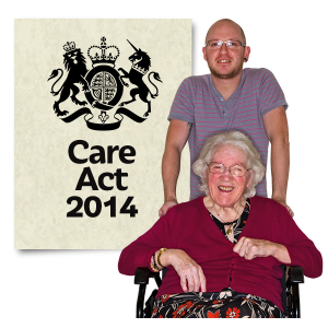 Person in a wheelchair with carer and Care Act 2014 Care Act 20